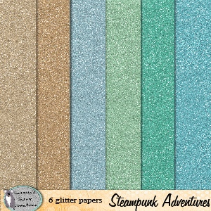 Steampunk adventures glitter papers