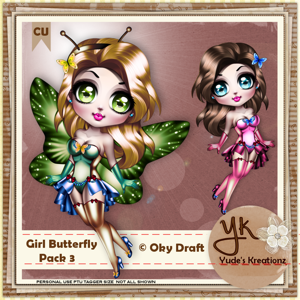 Girl Butterfly CU Pack#3